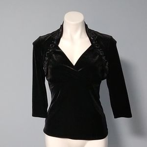 WHBM black velvet shrug top size small NWOT